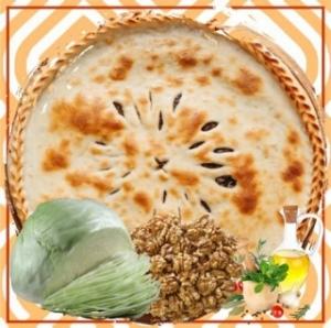 Постный пирог с капустой и грецким орехом